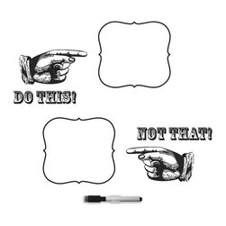 """Brewster Home Fashions - Do This Not That Dry Erase Wall Quote Decal - Do this not that! Get your priorities straight with this quirky dry-erase wall art kit. Set fun reminders and have fun with your walls using the retro pointing hands to draw your attention to notes. This kit comes on two 9.75"""" x 17.25"""" sheets.  WallPops are always repositionable and removable."""
