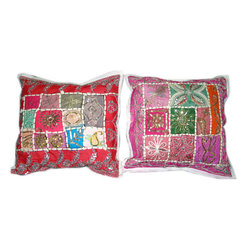 """Mogul Interior - Red Pink Sari Patchwork Beaded Pillow Sham Cover 16"""", Set of 2 - *Vintage Beaded Cushion Cover, sari  tapestry patchwork and sequin embroidered"""
