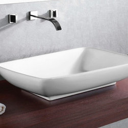 Caracalla - Rectangular White Ceramic Vessel Bathroom Sink - Contemporary style, rectangular white ceramic vessel bathroom Sink without overflow. Trendy above counter washbasin comes with no hole. Made in Italy by Caracalla. Made out of white ceramic. Contemporary design. Without overflow. Standard drain size of 1.25 inches.