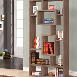 Coaster - Bookshelf, Distressed Brown - This wall unit can be used to dress up any wall with the look of interlocking shelves, which provide storage and displays space in different sized compartments. Finished in distressed brown.