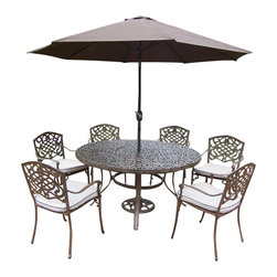 Oakland Living - 9-Pc Traditional Round Patio Dining Set - Includes one round table, six stackable chairs with cushions, crank and tilting umbrella and stand. Metal hardware. Fade, chip and crack resistant. Umbrella hole. Center of table can be replaced with ice bucket. Lattice pattern and scroll work. Warranty: One year limited. Made from rust free cast aluminum. Antique bronze hardened powder coat finish. Minimal assembly required. Table: 60 in. Dia. x 29 in. H (70 lbs.). Chair: 23 in. W x 22 in. D x 35.5 in. H (25 lbs.)This 60 inch 9 piece dining set is the prefect piece for any outdoor dinner setting. Just the right size for any backyard or patio. The Oakland Mississippi Collection combines southern style and modern designs giving you a rich addition to any outdoor setting. Each piece is hand cast and finished for the highest quality possible.
