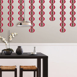 """Loopy Red Stripes Set of Wall Decals - Loopy WallPops are a contemporary interpretation of a retro geometric design. This modern wall art will bring a fun vibe to your space. This pack contains Four 6.5"""" x 16' Die-Cut Loopy Red Stripes. WallPops are repositionable and always removable."""