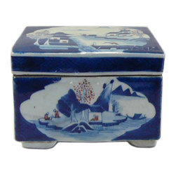Golden Lotus - Consigned Vintage Chinese Blue White Porcelain Brush Ink Holder - This is a hand painted oriental blue and white porcelain table top accent. It was used to hold ink and brush.