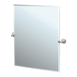 """Gatco - Laurel Ave Tilting Rectangle Wall Mirror (Beveled) - Gatco's Laurel Avenue collection is an elegant display of Polished and Satin Nickel at an affordable price. Brighten your bathroom's appeal with sophisticated pieces of treasure. Features: -Large tilting wall mirror. -Laurel Avenue collection. -Satin Nickel finish. -Rectangle shape. Specifications: -Overall Dimensions: 31.5"""" Height x 23.5"""" Width."""