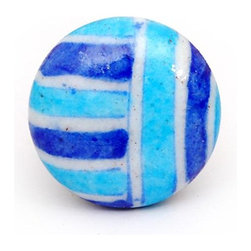 """Knobco - Plaids and Stripes, Turquoise, blue and white plaid - Turquoise, blue and white plaid designer knob from Jaipur, India. Decorative hand painted ceramic cabinet knobs for your kitchen or bathroom cabinets. 1.5"""" in diameter. Includes screws for installation."""
