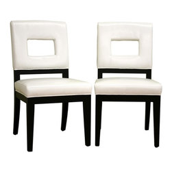 Wholesale Interiors - Faustino White Leather Dining Chairs, Set of 2 - Drawing inspiration from geometry, this contemporary leather chair offers a modern update to your home. The frame is sturdily constructed with wood and comfortably padded with foam cushioning. Bright white leather with edges finished in matching piping lends a classic touch to your space and is paired with black legs. Opaque non-marking feet give sensitive flooring additional protection.