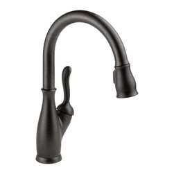 Delta Single Handle Pull-Down Kitchen Faucet - 9178-RB-DST - The Leland Bath Collection gracefully reinterprets the time-honored teapot design with decorative, traditional detailing.