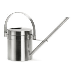 Blomus - Aguo Stainless Steel Watering - Large - Thoroughly modern and ergonomically brilliant. With its double handle design, this watering can offers you the perfect precision to pour exactly the right libations to your patio plants and windowsill forest.