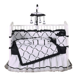 Sweet Jojo Designs - Princess Black and White 9-Piece Baby Crib Bedding Set by Sweet Jojo Designs - The  baby bedding by Sweet Jojo Designs includes: comforter, bumper, dust ruffle, fitted sheet, toy bag, pillow, diaper stacker and 2 window valances.