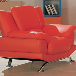 Global Furniture - Modern Red Leather Arm Chair w Metal Legs - 9 - Contemporary style. Made from leather. 44 in. L x 37 in. W x 37 in. H (103.4 lbs.)