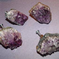 Amethyst Druzy Gemstone Knobs by Landi - You can never have enough knobs for the home. These real amethyst knobs would be a great addition to the collection. They're so glamorous.