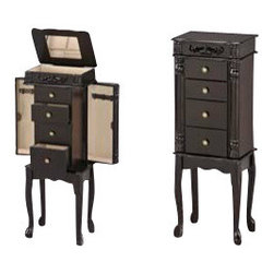 "Acme - Tiana Espresso Finish Wood Jewelry Armoire - Tiana espresso finish wood jewelry armoire. Measures 13"" x 9"" x 35""H. Some assembly required."