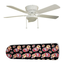 """San Francisco 49 ers Forty Niners 52"""" Ceiling Fan with Lamp - This is a brand new 52-inch 5-blade ceiling fan with a dome light kit and designer blades and will be shipped in original box. It is white with a flushmount design and is adjustable for downrods if needed. This fan features 3-speed reversible airflow for energy efficiency all year long. Comes with Light kit and complete installation/assembly instructions. The blades are easy to clean using a damp-not wet cloth. The design is on one side only/opposite side is bleached oak. Made using environmentally friendly, non-toxic products. This is not a licensed product, but is made with fully licensed products. Note: Fan comes with custom blades only."""