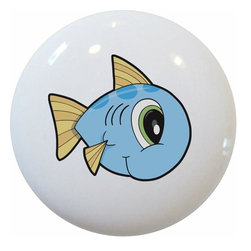 Carolina Hardware and Decor, LLC - Baby Fish with Big Eyes Ceramic Knob - 1 1/2 inch white ceramic knob with one inch mounting hardware included.  Great as a cabinet, drawer, or furniture knob.  Adds a nice finishing touch to any room!