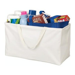 Household Essentials - Rectangular KRUSH Tote, White - It is the one and only Krush, a durable canvas bag with a water resistant vinyl lining that is truly ready for any task. Ideal for home, dorm, travel, and more, simply pull open the bag and form into shape. Whether lugging groceries, laundry, or beach paraphernalia, you are well equipped with our sturdy tote.