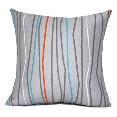 "Blooming Home Decor - Gray & Orange Stripe Throw Pillow Cover 16""x16"" - - Gray, persimmon, aqua blue, white stripes"
