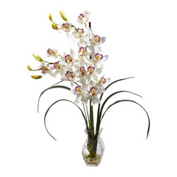 "Nearly Natural - Nearly Natural Cymbidium Orchid with Vase Arrangement in White - Incredibly elegant and stunning at the same time, this Cymbidium orchid embodies the perfection that is nature. Standing tall at 28"" high, this beautiful flower bursts forth with blooms that seem to radiate sunshine. The delicate curves of the stems add to the intricate beauty. Complete with glass vase, faux water, and river rock to complete the look."