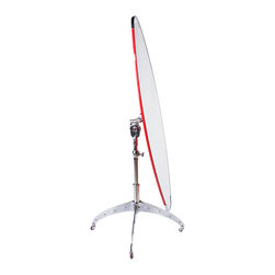 Dulton - Dulton Surfboard mirror TEEPEE, Red - The Dulton surfboard shaped standing mirror on rolling wheels. Oval mirror size 50.5 inch * 14.5 inch, adjustable height is up to 58.5 inches. Perfect for fitting room, bedroom, any room needed a full size mirror and mobility.