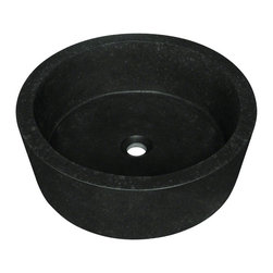"""MR Direct - MR Direct 862 Black Honed Basalt Vessel Sink - The 862 honed basalt black granite vessel sink is made from natural granite. The sink is carved from a large block of granite and hand-polished for a smooth, easy to clean finish. It is a uniquely shaped black granite vessel with a honed, or matte, finish. Since granite is a natural stone, the details will vary in color and pattern from sink to sink.  A matching stone waterfall faucet is available to correspond with this sink. The overall dimensions for the 862 are 17"""" x 7 1/4"""" and an 18"""" minimum cabinet size is required. As always, our stone sinks are covered under a limited lifetime warranty for as long as you own the sink."""
