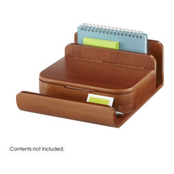 Safco - Bamboo Small Organizer (Qty. 4) - Cherry - Challenge clutter with the Bamboo Small Organizer. The small and sleek organizer provides superb storage for pens, pencils, paper and binder clips and other small desk necessities. The letter holder can easily organize mail or other small documents. The front tray can hold personal items such as keys or a cell phone or desk supplies that are frequently needed.