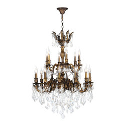 Worldwide Lighting - Versailles Chandelier 27 In. - 18 Light in Antique Bronze - This 18-light Versailles Collection chandelier in Antique Bronze finish and Clear crystal is a stunning addition to your home and is dressed with our 30% PbO Premier Crystal glass. Worldwide Lighting Corporation is a premier designer manufacturer and direct importer of fine quality chandeliers, surface mounts, and sconces for your home at a reasonable price. You will find unmatched quality and artistry in every luminaire we manufacture.