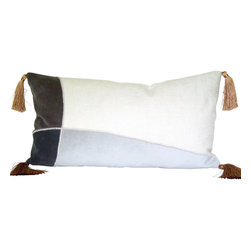 Therese Marie Designs - Colorblocked Velvet Lumbar Pillow - Smoke gray, steel gray and silver gray velvet are pieced and appliquéd onto a square of off white linen.   Gold tassels are added to the corners.  All fabrics are medium weight.