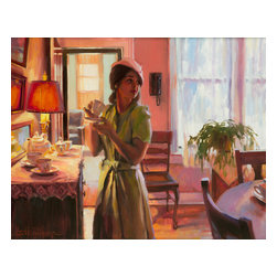 Steve Henderson Fine Art - Midday Tea Artwork -- Original Oil Painting - Original oil painting on panel, 24 inches high x 30 inches wide. With gold-colored frame, included with purchase, finished hanging size is 30 x 36. This is the original oil painting of a licensable work.