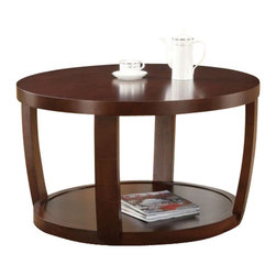 Coaster - Coffee Table (Cherry) By Coaster - Description: A round top and base are connected with curvaceous side supports to create a one-of-a-kind coffee table. This occasional table is a great accent piece for a modern living room with an inviting aesthetic. A base shelf offers a place for stacks of magazines, games and books. You may also choose to decorate this shelf with an antique vase. This coffee table is easily dressed into a fancy cocktail hour table or fixed with popcorn and soda for family movie night, making the perfect addition to any living room. Dimension: COFFEE TABLE -- COASTER 701318 (39X37.752X4.752)