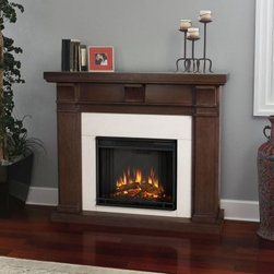 Real Flame Porter Electric Fireplace - Vintage Black Maple - Add a spark of romance to any room with the classic Real Flame Porter Electric Fireplace - Vintage Black Maple. This electric fireplace glows with an ultra-bright Vivid Flame LED light and dynamic ember effect, while remaining cool to the touch. Framing the firebox is a sturdy mantle with three arched corbels and a rich black maple finish. The fireplace plugs into any standard outlet and includes remote control, thermostat, and timer.About Real FlameReal Flame is the original, premium gel fuel designed for use with ventless gel fireplaces and accessories. For more than 25 years, Real Flame has been the leading alcohol-based gel fuel on the market. Real Flame gel is an environmentally friendly, non-toxic, clean-burning gel that doesn't leave any soot, smoke, or ashes behind - so there's no messy cleanup. Best of all, Real Flame creates a robust, bright yellow, orange, and red flame that crackles just like a log fire. Made in the U.S.A.Real Flame is made from pure, premium-grade isopropyl alcohol and thickeners to enhance stability. Real Flame is the safest, most viscous (thick) gel fuel available on the market. It is not liquid and will not break down, separate, or liquefy as quickly as other brands. To maintain the integrity and stability of Real Flame, all Real Flame gel cans are specially treated to prevent rusting on the inside. Environmentally FriendlyReal Flame is a safe, clean-burning gel that is regularly tested by numerous independent labs. Air-quality results while burning Real Flame gel fuel fall well below the standards established by the Occupational Safety and Health Administration (O.S.H.A.) and the Environmental Protection Agency (E.P.A.). Each batch of Real Flame gel fuel production is closely monitored to ensure the highest quality. EfficiencyEach can of Real Flame gel fuel is designed to burn for up to 2.5 to 3 hours. If you wish to create a fire for a shorter period, simply extinguish the flame and re-cap the can. Reuse any remaining gel fuel for your next fire. For each fire, you may use one to three cans of gel fuel at a time, depending on the size of fire you wish to create. When compared to cartridge-style cans, one can of Real Flame gel fuel is available at a fraction of the cost. Growing PopularityMillions of consumers can't be wrong. Loyal customers have made Real Flame the leading gel fuel on market today. Don't be fooled by unscientific consumer polls. Real Flame is the original and best-selling gel fuel available and has been on the market the longest. Never settle for any other gel fuel in your Real Flame fireplace or accessories.