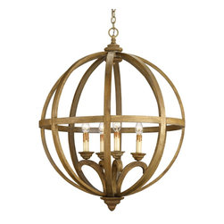 Currey & Company - Currey & Company Large Axel Orb Chandelier CC-9015 - This large scale piece owes its commanding presence to its size and strong form. A steel frame construction provides a framework for curved wooden slats. The rustic sophistication of this chandelier is enhanced with a Chestnut stain on the wood that is then slightly washed, giving it an aged, used appearance.