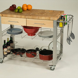 Chris & Chris - Chris & Chris Stadium Kitchen Work Station - This commercial-quality kitchen work station provides a durable work space and intelligent storage for home kitchens. This self-contained food prep center features a solid work surface.