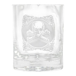 "Crystal Imagery, Inc. - Skull and Cross Bones Whiskey, Scotch, Bourbon Rocks Glass Set of 4 - Engraved skull and cross bones whiskey, bourbon and scotch glasses are a rock star style gift idea for the person with an edgy rock and roll style who knows what they want out of life! A high quality gift for the man or woman with really cool and edgy taste. Deeply carved using our sand carving technique, each whiskey, scotch, bourbon glass is meticulously custom made to order by our master sand carvers making them the perfect gifts for those seeking unique gift ideas for whiskey lovers - men and women alike. At 4.25"" high x 3.4"" wide, our whiskey glasses and scotch glasses hold 13.5 oz. A set of 4 of these etched rock star whiskey glasses will be the favorite gift at any special gift giving occasion. Dishwasher safe. Sold as a set of 4 glasses."