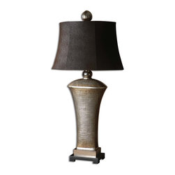 Uttermost - Afton Antique Silver Table Lamp - Make your home shine with this antiqued silver table lamp. Featuring antiqued cast aluminum accents, this fine lamp will beautifully complement your traditional decor.