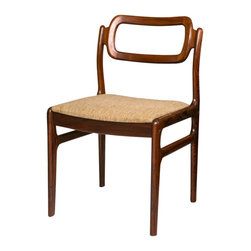 Consigned Mid-Century Rosewood Chair Set, 1960s - A rarely seen set of four very sculptural side/dining chairs dating from the 1960's. Well executed in solid Rosewood, the chairs are very comfortable and extremely stylish. All original condition, and the seats remove easily for custom upholstering. Denmark.