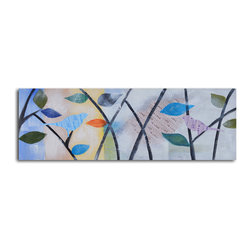 Newspaper lovebirds Hand Painted Canvas Art - Bird's-eye view. This cleverly crafted canvas is painted by hand in acrylic for rich, saturated color. Use it to add a note of whimsy to your space, with two lovebirds rendered in newspaper print for an iconic twist.