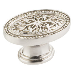 Jeffrey Alexander - Odessa Cabinet Knob, Satin Nickel - 1 3/4 inch Overall Length Zinc Die Cast Oval Filigree Cabinet Knob. Packaged with one 8/3/2 inch x 1 1/8 inch screw. Finish: Satin Nickel.