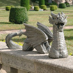 Design Toscano - Design Toscano The Dragon of Falkenberg Castle Moat Lawn Garden Statue Multicolo - Shop for Statues and Sculptures from Hayneedle.com! Beware the fierce breath of the The Dragon of Falkenberg Castle Moat Lawn Garden Statue. This sculpture features intricate detailing and is over two feet long. It is quality crafted of durable resin material and given a stone-colored finish. Three pieces create a unique effect.About Design Toscano: Design Toscano is the country's premier source for statues and other historical and antique replicas which are available through our catalog and website.We were named in Inc. magazine's list of the 500 fastest growing privately-held companies for three consecutive years - an honor unprecedented among catalogers.Our founders Michael and Marilyn Stopka created Design Toscano in 1990. While on a trip to Paris the Stopkas first saw the marvelous carvings of gargoyles and water spouts at the Notre Dame Cathedral. Inspired by the beauty and mystery of these pieces they decided to introduce the world of medieval gargoyles to America in 1993. On a later trip to Albi France the Stopkas had the pleasure of being exposed to the world of Jacquard tapestries that they added quickly to the growing catalog. Since then our product line has grown to include Egyptian Medieval and other period pieces that are now among the current favorites of Design Toscano customers along with an extensive collection of garden fountains statuary authentic canvas replicas of oil painting masterpieces and other antique art reproductions.At Design Toscano we pride ourselves on attention to detail by traveling directly to the source for all historical replicas. Over 90% of our catalog offerings are exclusive to the Design Toscano brand allowing us to present unusual decorative items unavailable elsewhere. Our attention to detail extends throughout the company especially in the areas of customer service and shipping.