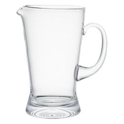 Brew Pitcher - Classic pub pitcher gets an upscale update in European-handcrafted glass. Graceful arched handle, stable flared sham and finely finished rim with ice lip pours craft beers and other cold beverages.