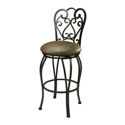Pastel - Magnolia Upholstered Swivel Barstool in Autum - Choose Size: 26 in. Seat H: 20 W x 17.75 D x 42.75 HTraditional style. Seat upholstered in florentine coffee fabric. Warranty: One year. Made from steel and iron. Assembly requiredThis swivel barstool features a quality metal frame with sturdy legs and foot rest finished in autumn rust. The padded seat is upholstered in florentine coffee offering comfort and style.