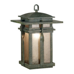 Kenroy Home - Kenroy 91904RST Carrington Hanging Lantern - The Carrington wall lanterns are a modern culmination of a classic wrought iron look that applies contemporary design to a familiar fixture of exterior lighting.  Amber and Frosted White glass pair beautifully with Rust and Black housings.