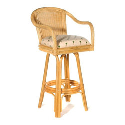 Hospitality Rattan - Indoor Swivel Rattan & Wicker 30 in. Bar Stool in Natural Finish (Tropic Tobacco - Fabric: Tropic Tobacco. Lighten up a bar area with Key West stools. Swivel bases feature rattan cane structuring with circular foot rings. Twist wrap arms continue the natural look that pairs with a basket weave back inset. Seating includes colorful fabric choices to complement any decor. Made of Rattan Poles & Woven Wicker. Finished in Natural Color. Includes cushion with choice of fabric in a variety of colors and patterns. Swivel Mechanism included. Constructed of commercial quality rattan poles. Requires Some Assembly (Instructions Included). Overall: 23 in. L x 23 in. W x 43 in. H (25 lbs.)A traditional wicker and rattan swivel barstool that is built with solid rattan pole construction reinforced with a pencil rattan twist. The Key West Collection offers three basic finishes. The barstools and counter stools feature commercial grade reinforced rattan bases, swivel mechanisms & reinforced double pole footrests. In addition your choice of over 45 fabrics is available on the Key West Collection. Some Assembly Required.
