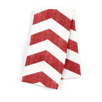 "Red & White Chevron Custom Napkin Set - Our Custom Napkins are sure to round out the perfect table setting""""_whether you're looking to liven up the kitchen or wow your next dinner party. We love it in this graphic chevron in a washed berry red & ivory on lightweight linen adds a punch of color to the contemporary home."