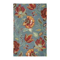 """Nourison - Nourison Vista VIS51 2'6"""" x 4' Blue Area Rug 13801 - An oversized floral design is a perennial favorite that slips easily into any aesthetic, when it blooms in thrilling hues of brick, jade, blue, gold, white, rose, orange and crimson on a true blue background. Meticulous hand carving imparts an amazing tone and texture."""