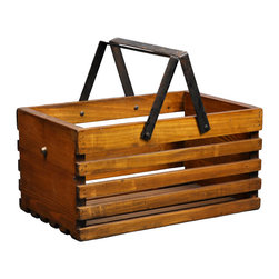 Antique Revival - Natural Loire Fruit Bucket - This wooden, handcrafted caddy box is both the perfect accent piece and an attractive, sturdy way to store fruit on your kitchen counter. The natural wood adds a country feel to your countertop. Newly made.