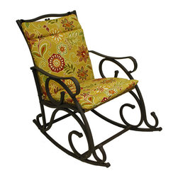 None - Blazing Needles Outdoor Single Glider Chair Cushion - Blazing Needles brings you this trendy outdoor single glider chair cushion. Featuring a durable 100-percent spun polyester construction,this weather-resistant cushion will lend a touch of comfort and style to your outdoor living space.