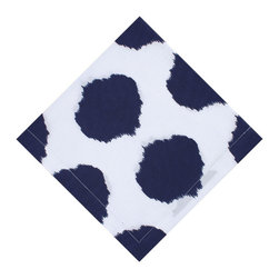 KAF Home - Ikat Navy Dot Napkin, Set of 4 - This unique design is formed by binding bundles of threads with a tight wrapping applied in the desired dot pattern. A perfect option to complement your kitchen decor.