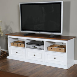 Belham Living - Belham Living Hampton TV Stand with Drawers - White/Oak - KG-043A-WO - Shop for Visual Centers and Stands from Hayneedle.com! With its country casual charm and ample storage the Hampton TV Stand with Drawers - White/Oak is the perfect addition to your home theater. This smart stand is well-crafted of solid wood with engineered wood sides and back plus an oak veneer top. It has a two-tone finish of fresh white and oak for down-home style. This TV stand has a spacious top and is sturdy enough to hold up to a 60-inch flat screen. Three open cubbies are great for media components and display pieces. Three drawers below offer plenty of tucked away storage and smooth metal drawer glides provide easy operation. The framed drawer fronts and brushed metal knobs add detail. About Belham Living Belham Living builds catalog-quality furniture in traditional styles at a price that actually makes sense. By listening to our customers and working closely with great manufacturers we build beautiful pieces worthy of your home. Rich wood finishes attention to detail and stylish lines that tie everything together are some of the hallmarks of a Belham Living piece. From the living room or bedroom through the kitchen and out onto the deck there's something from an incredible Belham collection perfect for your style.