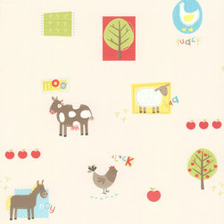 Brewster - On The Farm Red Patchwork Farm Wallpaper - Old MacDonald had a design studio? Hay — er, hey — why not! Your child will love the charming farming motif — and you'll love how the paper is pre-pasted to go on easy and tough enough to take a scrubbing.