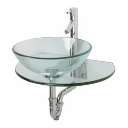 Renovators Supply - Glass Sinks Glass/Stainless Corona Glass Vessel Sink - Glass Sinks: the tempered glass Corona wall mount vessel sink package comes complete with faucet, drain, and p-trap. See site for detailed product measurements and information.