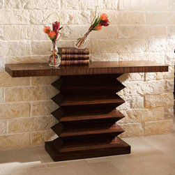 """Global Views - Global Views Zig Zag Console Table - A sculptural geometric base defines the contemporary Zig Zag console table from Global Views. The natural variegations of zebra wood lend beautiful dimension to its rectangular top. 59""""W x 15.75""""D x 33.5""""H; Zebra wood veneer"""
